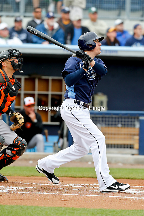 Mar 2, 2013; Port Charlotte, FL, USA; Tampa Bay Rays second baseman Kelly Johnson (2) during a spring training game against the Baltimore Orioles at Charlotte Sports Park. Mandatory Credit: Derick E. Hingle-USA TODAY Sports