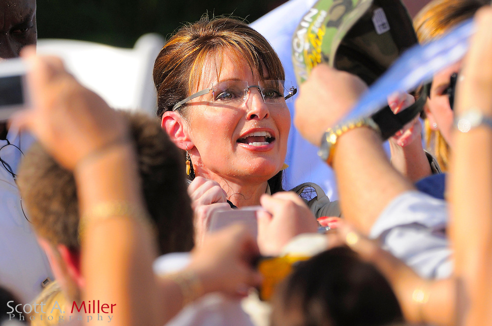 Sept. 22, 2008; Lady Lake, Florida; Alaska Governor and republican vice presidential hopeful, Sarah Palin speaks to a crowd estimated at 60,000 during a campaign stop at the Villages in Lady Lake, Florida...©2008 Scott A. Miller