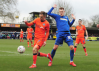 Football - 2018 / 2019 Emirates FA Cup - Fifth Round: AFC Wimbledon vs. Millwall<br /> <br /> Joe Piggot of Wimbledon and Jed Wallace, at the Cherry Red Records Stadium (Kingsmeadow).<br /> <br /> COLORSPORT/ANDREW COWIE