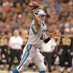 2008 December, 28: Carolina Panthers quarterback Jake Delhomme (17) throws a pass during a week 17 game between NFC South divisional rivals the Carolina Panthers and the New Orleans Saints at the Louisiana Superdome in New Orleans, LA.