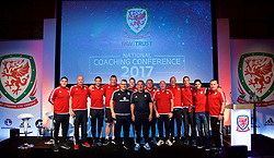NEWPORT, WALES - Sunday, May 28, 2017: Osian Roberts with Akram Molaka and coaches during day three of the Football Association of Wales' National Coaches Conference 2017 at Dragon Park. Mark Kennedy, Cameron Toshack, Pepijn Lijnders, Mikel Arteta. (Pic by David Rawcliffe/Propaganda)