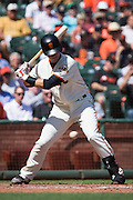 San Francisco Giants catcher Buster Posey (28) watches a pitch go by against the San Diego Padres at AT&T Park in San Francisco, Calif., on September 14, 2016. (Stan Olszewski/Special to S.F. Examiner)