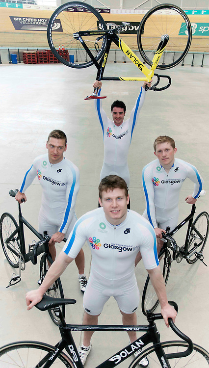 "The ""next generation"" of Scotland's sprint track cyclists  in full kit , at the Sir Chris Hoy Vellodrome,  In Pic, Back Johnny Cosh, Mid left, Graeme McBride, mid Right, Andrew Louis, front Johnny Biggan,, Johnny Mclauchlan (c)  