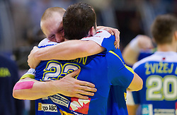 Miha Zvizej of Slovenia and Uros Zorman of Slovenia celebrate after the handball match between Iceland and Slovenia in  3rd Round of Preliminary Round of 10th EHF European Handball Championship Serbia 2012, on January 20, 2012 in Millennium Center, Vrsac, Serbia. Slovenia defeated Iceland 34-32. (Photo By Vid Ponikvar / Sportida.com)