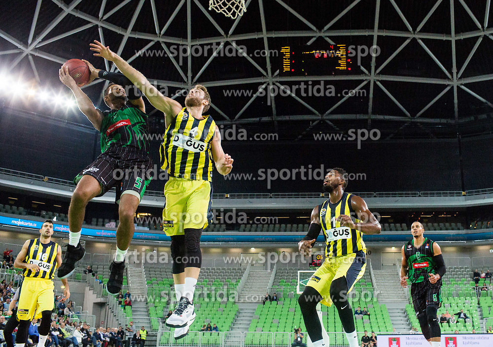Devin Oliver of Petrol Olimpija vs Nicolo Melli of Fenerbahce during friendly basketball match between KK Petrol Olimpija and BC Fenerbahce Dogus Istanbul, at Arena Stozice, Ljubljana, Slovenia on September 25, 2017. Photo by Vid Ponikvar / Sportida
