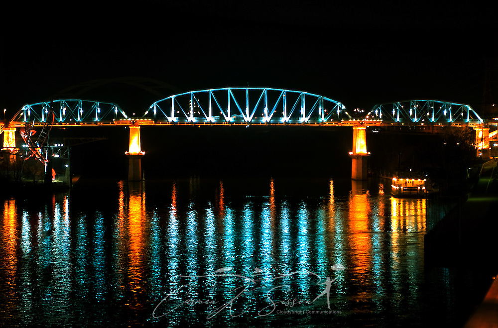 The Shelby Street Pedestrian Bridge is pictured at night in Nashville, Tenn., March 6, 2010. The truss bridge spans the Cumberland River. The bridge is 3,150 feet long and is one of the longest pedestrian bridges in the world. It was originally built in 1909 and reopened as a pedestrian bridge in 2003. (Photo by Carmen K. Sisson/Cloudybright)