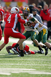 25 October 2008: Drew Kiel works to stop the advance of Nick Schommer who intercepted a pass thrown by Kiel in a game which the North Dakota Bison defeated the Illinois State Redbirds at Hancock Stadium on campus of Illinois State University in Normal Illinois