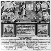 Ten battle scenes from the American revolutionary war, from the battle of Trenton to the victory of Comte de Grimouard in the West Indies in November 1782, depicted to the right and left of a pedestal upon which appears the names of officers killed in battle a banner lists kings, generals, and statesmen from the countries supporting America 1784