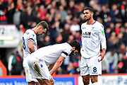 James Tomkins (5) of Crystal Palace, James McArthur (18) of Crystal Palace and Ruben Loftus-Cheek (8) of Crystal Palace look dejected at full time after a 2-2 draw during the Premier League match between Bournemouth and Crystal Palace at the Vitality Stadium, Bournemouth, England on 7 April 2018. Picture by Graham Hunt.