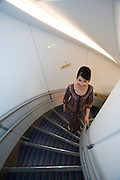 Airbus A380 first commercial flight - Singapore Airlines SQ 380 Singapore-Sydney on October 25, 2007. Singapore Girl on the staircase.