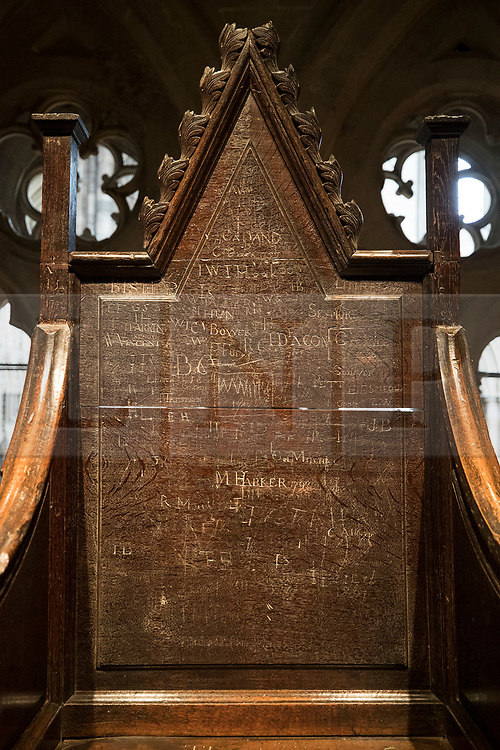 © Licensed to London News Pictures. 29/05/2018. London, UK. The coronation chair of Queen Mary II, from 1689, which  bears the carved names of Westminster schoolboys, is displayed in the new Queen's Diamond Jubilee Galleries in Westminster Abbey. The recently finished galleries situated in 13th century triforium, 52 feet above the abbey floor, will display treasures not seen by the public before and tell the story of abbey's thousand-year history. Photo credit: Peter Macdiarmid/LNP