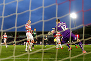Fine save from Doncaster Rovers goalkeeper Thorsten Stuckmann  during the The FA Cup third round match between Doncaster Rovers and Stoke City at the Keepmoat Stadium, Doncaster, England on 9 January 2016. Photo by Simon Davies.