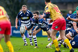 Bristol Rugby Scrum-Half Craig Hampson passes - Mandatory byline: Rogan Thomson/JMP - 17/01/2016 - RUGBY UNION - Clifton Rugby Club - Bristol, England - Scarlets Premiership Select XV v Bristol Rugby - B&I Cup.
