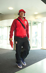 CARDIFF, WALES - Monday, September 10, 2012: Wales' Robert Earnshaw arrives at Cardiff Airport as the side travel to Serbia for the 2014 FIFA World Cup Brazil Qualifying Group A match in Novi Sad. (Pic by David Rawcliffe/Propaganda)