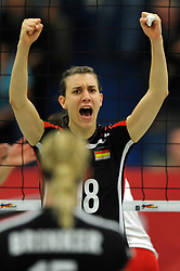 09.10.2010, Halle Berg Fidel, Muenster, GER, Vorbereitung Volleyball WM Frauen 2010, Laenderspiel Deutschland ( GER ) vs. Tuerkei ( TUR ), im Bild Nadja Schaus (#18 GER). EXPA Pictures © 2010, PhotoCredit: EXPA/ nph/   Conny Kurth+++++ ATTENTION - OUT OF GER +++++