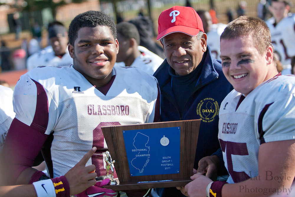 Glassboro High School's Corey Clement (6); Glassboro High School's Dan Klaszky (55)...NJSIAA South Jersey Group 1 Title match between Pennsville High School and Glassboro High School held at Coach Richard Wacker Stadium on the campus of Rowan University in Glassboro, NJ on Saturday, December 3, 2011. (photo: Mat Boyle)