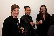 ANDREW HALE; JUANITA BOXHILL; CHARLOTTE STOCKDALE, 'Engagement' exhibition of work by Jennifer Rubell. Stephen Friedman Gallery. London. 7 February 2011. -DO NOT ARCHIVE-© Copyright Photograph by Dafydd Jones. 248 Clapham Rd. London SW9 0PZ. Tel 0207 820 0771. www.dafjones.com.