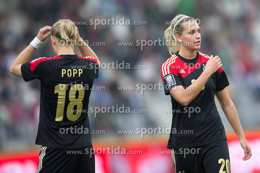 Alexandra Popp of Germany and Lena Goessling of Germany during FIFA Women's World Cup 2015 Group A qualification match between Slovenia and Germany on October 26, 2013 in SRC Bonifika, Koper, Slovenia. (Photo by Matic Klansek Velej / Sportida.com)