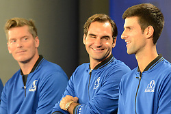 September 20, 2018 - Chicago, Illinois, United States - Members of the Eurpoe Team speak with the media prior to the start of the 2018 Laver Cup tennis event in Chicago. (Credit Image: © Christopher Levy/ZUMA Wire)