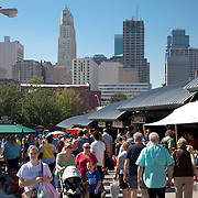 Kansas City Missouri farmer's market on Saturday morning, River Market area of downtown Kansas City.