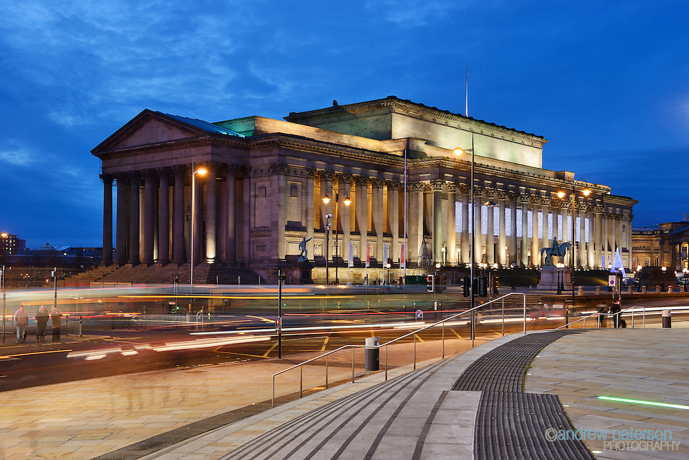 Dusk exterior of St George' Hall in Liverpool city centre