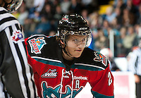 KELOWNA, CANADA - OCTOBER 3: Ryan Olsen #27 of the Kelowna Rockets faces off against the Vancouver Giants at the Kelowna Rockets on October 3, 2012 at Prospera Place in Kelowna, British Columbia, Canada (Photo by Marissa Baecker/Getty Images) *** Local Caption *** Ryan Olsen;