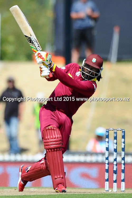 West Indies player Chris Gayle during the 2015 ICC Cricket World Cup match between West Indies and Ireland. Saxton Oval, Nelson, New Zealand. Monday 16 February 2015. Copyright Photo: Chris Symes / www.photosport.co.nz