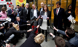 © Licensed to London News Pictures. 27.02.12 London, UK..Singer Charlotte Church makes a statement outside the Royal Courts of Justice after the formal settlement of £600,000 phone-hacking damages against News Group Newspapers..Photo credit : Simon Jacobs/LNP