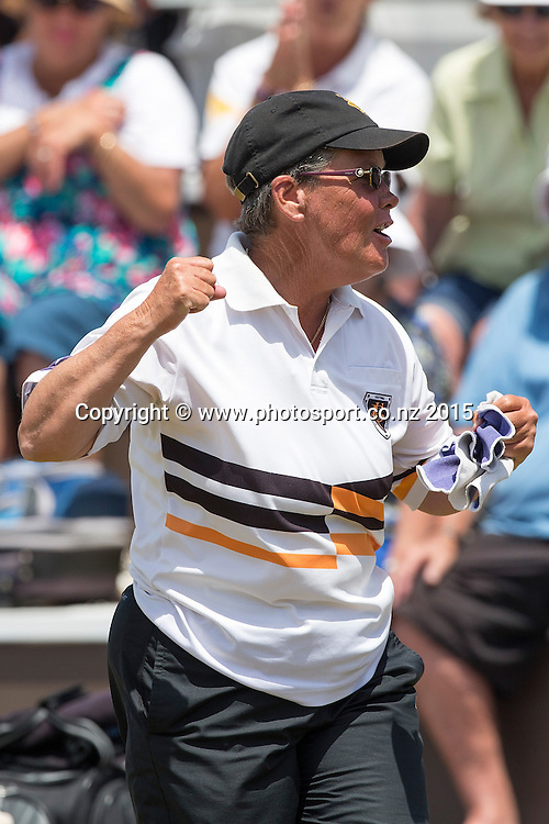 Victoria`s Leigh Griffin celebrates winning the women`s singles final at the National Open Bowls Championship 2014, Browns Bay Auckland, New Zealand, Sunday, January 04, 2015. Photo: David Rowland/www.photosport.co.nz