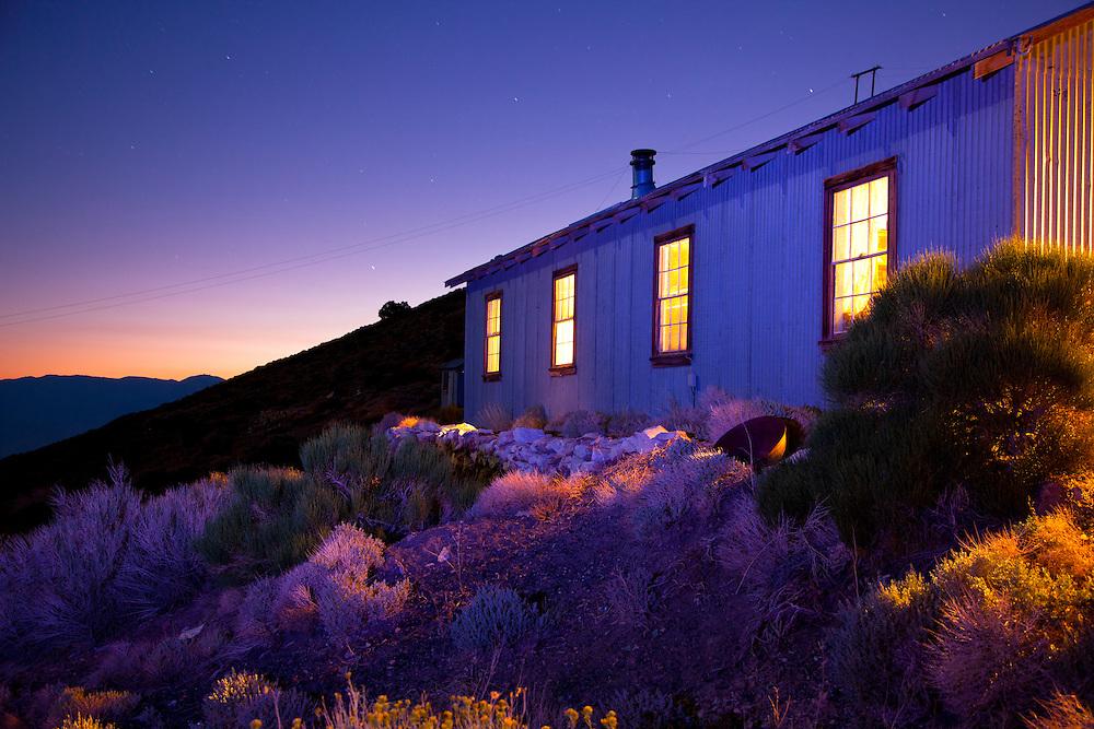 Bunk house at twilight- Cerro Gordo, CA