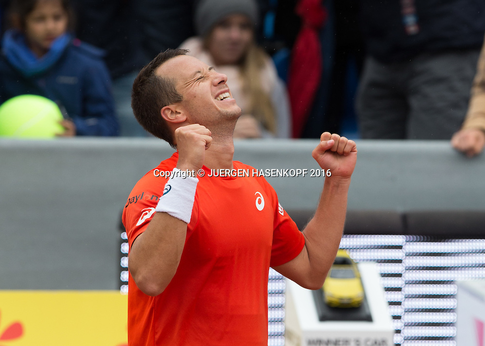 Philipp Kohlschreiber (GER),jubelt nach seinem Sieg, Endspiel, FinalJubel,Emotion,<br /> <br /> Tennis - BMW Open2016 -  ATP  -  MTTC Iphitos - Munich - Bavaria - Germany  - 1 May 2016.