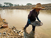 "01 APRIL 2016 - WANG NUEA, LAMPANG, THAILAND: A man carries his pan of rocks whole he looks for gold in the Mae Want. Villagers in the Wang Nuea district of Lampang province found gold in the Mae Wang (Wang River) in 2011 after excavation crews dug out sand for a construction project. A subsequent Thai government survey of the river showed ""a fair amount of gold ore,"" but not enough gold to justify commercial mining. Now every year when the river level drops farmers from the district come to the river to pan for gold. Some have been able to add to their family income by 2,000 to 3,000 Baht (about $65 to $100 US) every month. The gold miners work the river bed starting in mid-February and finish up by mid-May depending on the weather. They stop panning when the river level rises from the rains. This year the Thai government is predicting a serious drought which may allow miners to work longer into the summer. The 2016 drought has lowered the water level so much that the river is dry in most places and people can only pan for gold in a very short stretch of the river.      PHOTO BY JACK KURTZ"