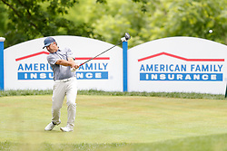 June 22, 2018 - Madison, WI, U.S. - MADISON, WI - JUNE 22: Clark Dennis tees off on the eighteenth tee during the American Family Insurance Championship Champions Tour golf tournament on June 22, 2018 at University Ridge Golf Course in Madison, WI. (Photo by Lawrence Iles/Icon Sportswire) (Credit Image: © Lawrence Iles/Icon SMI via ZUMA Press)