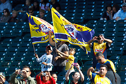 July 16, 2011; San Francisco, CA, USA;  Club America fans wave flags in the stands before the game against Manchester City at AT&T Park. Manchester City defeated Club America 2-0.
