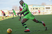 Forest Green Rovers Dan Wishart(17) runs forward during the EFL Sky Bet League 2 match between Morecambe and Forest Green Rovers at the Globe Arena, Morecambe, England on 17 February 2018. Picture by Shane Healey.
