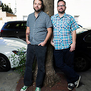 October 6, 2015 - New York, NY : Joseph Fink, left, and Jeffrey Cranor pose for a portrait in Brooklyn on Tuesday afternoon. Fink and Cranor are the creators of the podcast radio show 'Welcome to Night Vale'. CREDIT: Karsten Moran for The New York Times