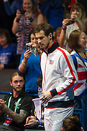Britains Andy Murray walks on to the court during the Davis Cup by BNP Paribas match between Great Britain and Japan at the National Indoor Arena, Birmingham, England.<br /> Picture by Anthony Stanley/Focus Images Ltd 07833 396363<br /> 04/03/2016