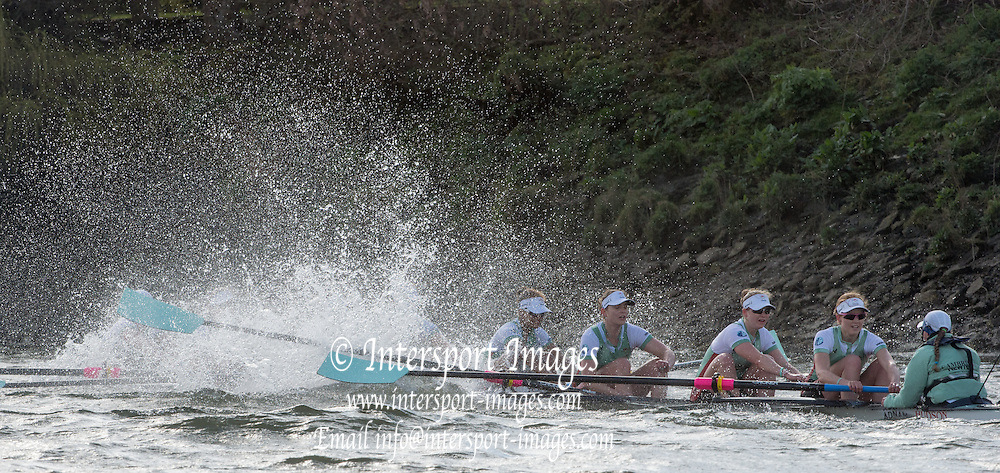 London. UNITED KINGDOM.  CUWBC, blue boat buffeted by the rough water The 71st Newton Women's Boat Race on the Championship Course, River Thames, Putney/Mortlake.  Sunday  27/03/2016    [Mandatory Credit. Intersport Images]<br /> <br /> Oxford University Women's Boat Club {OUWBC} vs Cambridge University Women's Boat Club {CUWBC} <br /> <br /> Cambridge, Crew Bow Ashton Brown, 2 Fiona Macklin, 3 Alice Jackson, 4 Thea Zabell, 5 Daphne Martschenko, 6 Myriam Goudet, 7 Hannah Roberts, Stroke Zara Goozee, Cox Rosemary Ostfeld.