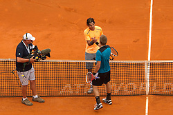 18.04.2012 Country Club, Monte Carlo, MON, ATP World Tour, Rolex Masters, 2. Runde, im Bild Players shake hands after Rafael Nadal (ESP) wins the second round match between Rafael Nadal (ESP) and Jarkko Nieminen (FIN) // at the Rolex Masters tennis tournament second Round of ATP World Tour at Country Club, Monte Carlo, Monaco on 2012/04/17. EXPA Pictures © 2012, PhotoCredit: EXPA/ Mitchell Gunn