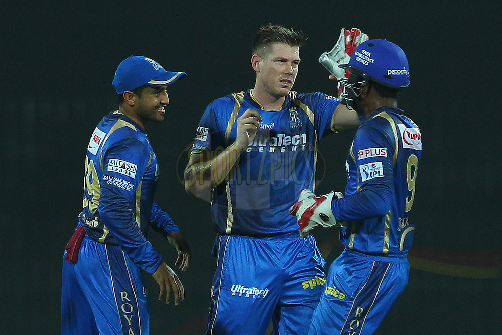 James Faulkner of the Rajasthan Royals celebrates the wicket of Dwayne Smith of the Chennai Superkings  during match 47 of the Pepsi IPL 2015 (Indian Premier League) between The Chennai Superkings and The Rajasthan Royals held at the M. A. Chidambaram Stadium, Chennai Stadium in Chennai, India on the 10th May 2015.<br /> <br /> Photo by:  Ron Gaunt / SPORTZPICS / IPL
