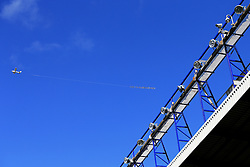 A light aircraft flies over Goodison Park carrying a banner calling for the sack of Everton Manager Roberto Martinez   - Mandatory by-line: Matt McNulty/JMP - 30/04/2016 - FOOTBALL - Goodison Park - Liverpool, England - Everton v Bournemouth - Barclays Premier League