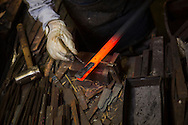 A knife is being made by Yoshikazu Ikeda Forged Knife Master Craftsman, Sakai, Osaka Prefecture, Japan