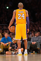 22 March 2013: Guard (24) Kobe Bryant of the Los Angeles Lakers stands on the free-throw line against the Washington Wizards during the second half of the Wizards 103-100 victory over the Lakers at the STAPLES Center in Los Angeles, CA.