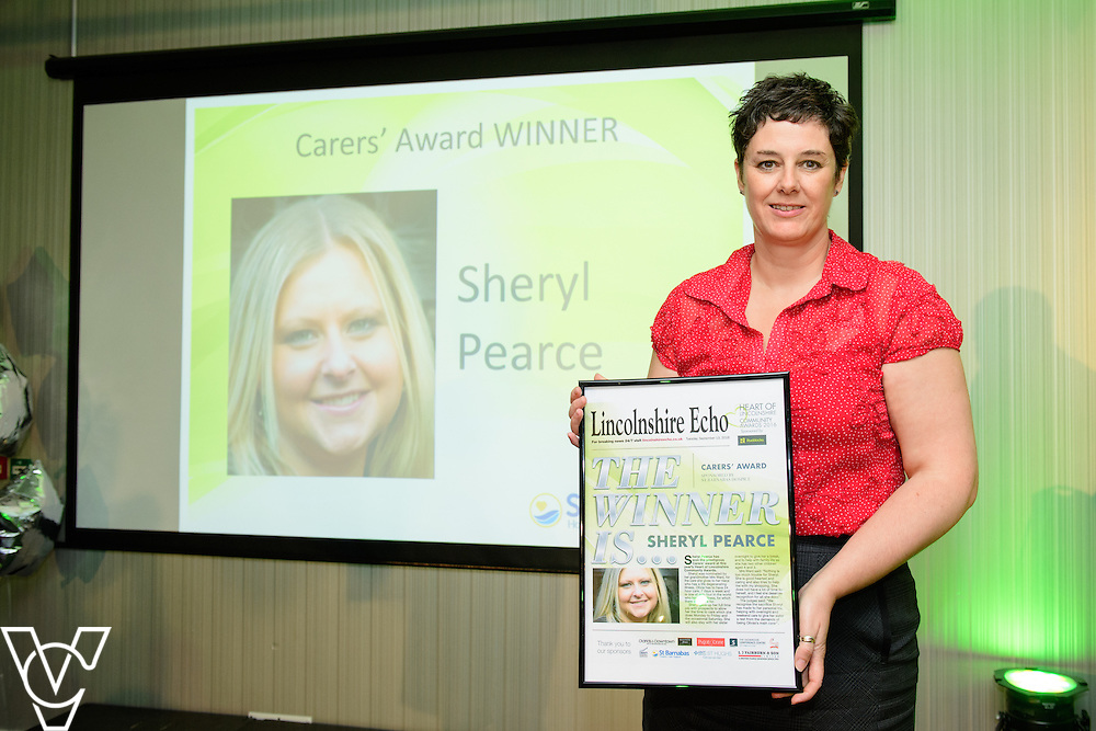 Heart of Lincolnshire Community Awards 2016 held at the Showroom, Lincoln.  Lisa Gibson, community development manager at St Barnabas with the carers' award winner which was awarded to Sheryl Pearce (who was not present at the event)<br /> <br /> Picture: Chris Vaughan Photography<br /> Date: September 13, 2016