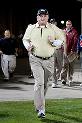 September 18, 2010; Stanford, CA, USA; Wake Forest Demon Deacons head coach Jim Grobe enters the field before the game against the Stanford Cardinal at Stanford Stadium. Stanford defeated Wake Forest 68-24.