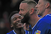 GOAL Aaron Wilbraham celebrates scoring during the EFL Sky Bet League 1 match between Rochdale and Scunthorpe United at Spotland, Rochdale, England on 23 March 2019.