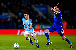 Phil Foden of Manchester City takes on Vicente Iborra of Leicester City - Mandatory by-line: Robbie Stephenson/JMP - 18/12/2018 - FOOTBALL - King Power Stadium - Leicester, England - Leicester City v Manchester City - Carabao Cup Quarter Finals
