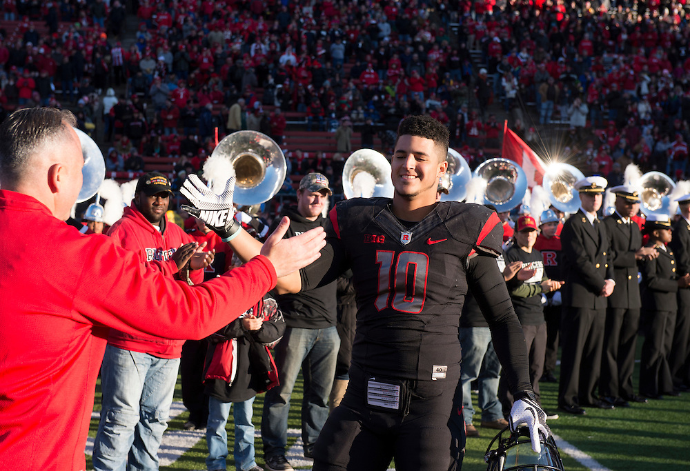 The Rutgers Scarlet Knights take on the Indiana Hoosiers on senior day at High Point Solutions Stadium in Piscataway, NJ on Saturday, November 15, 2014.<br /> Ben Solomon/Rutgers Athletics