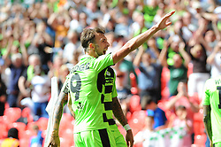Christian Doidge of Forest Green Rovers celebrates his goal- Mandatory by-line: Nizaam Jones/JMP - 14/05/2017 - FOOTBALL - Wembley Stadium- London, England - Forest Green Rovers v Tranmere Rovers - Vanarama National League Final