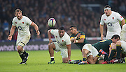 Twickenham, United Kingdom.  Rudy PAIGE clears the ball from the back of the ruck, during the Old Mutual Wealth Series match.: England vs South Africa, at the RFU Stadium, Twickenham, England, Saturday, 12.11.2016<br /> <br /> [Mandatory Credit; Peter Spurrier/Intersport-images]